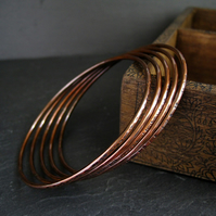 Copper Bangles, Copper Bracelets, Set of Five