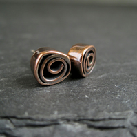 Stud Earrings, Copper Earrings