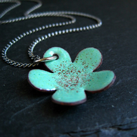 RESERVED FOR SARA - Turquoise Enamel Flower Pendant
