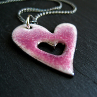 Pink Enamel Heart Pendant, Heart Necklace