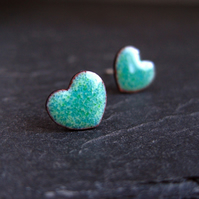 Heart Earrings, Turquoise Enamel Studs, Valentine's Day Gift