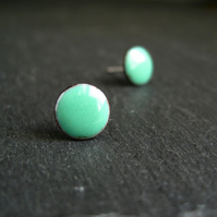 Mint Enamel Earrings, Stud Earrings, Torch Enamel Jewellery