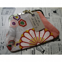 Florrie - Vintage Silk clasp frame purse  Clutch  Make-up Bag
