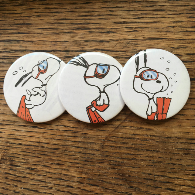 THREE Vintage SNOOPY Annual Pocket Mirrors