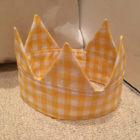 Yellow & White Gingham Check Cotton Crown Headband