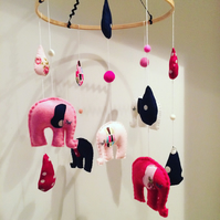 Pink and Navy Felt Elephant Baby Nursery Mobile
