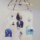 Blue & White Felt Elephant Mobile