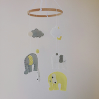 Dreamtime Yellow & Grey Felt Elephant and Cloud Baby Mobile