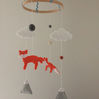 Foxes, Clouds & Mountains Felt Baby Mobile