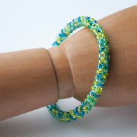Turquoise and lime beadwoven bangle