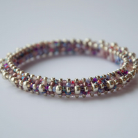 Lilac, pink and silver beadwoven bangle