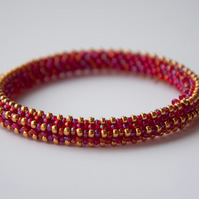 Red and gold beadwoven bangle