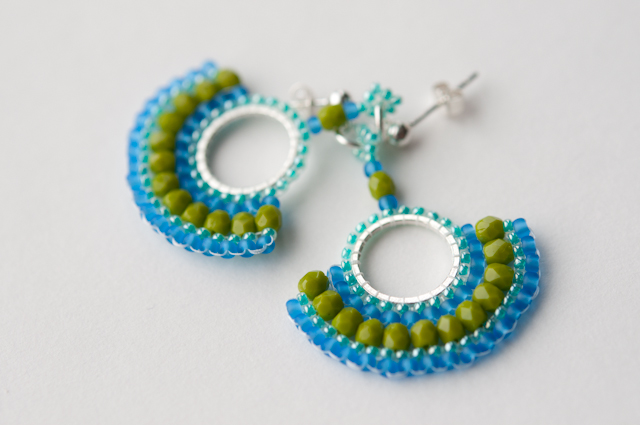 Lime, blue, aqua and silver earrings.