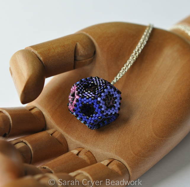 Purple and blue beadwoven hollow dodecahedron pendant