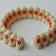 Cream and raspberry tila bangle