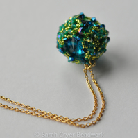 Turquoise and lime beadwoven crystal ball pendant