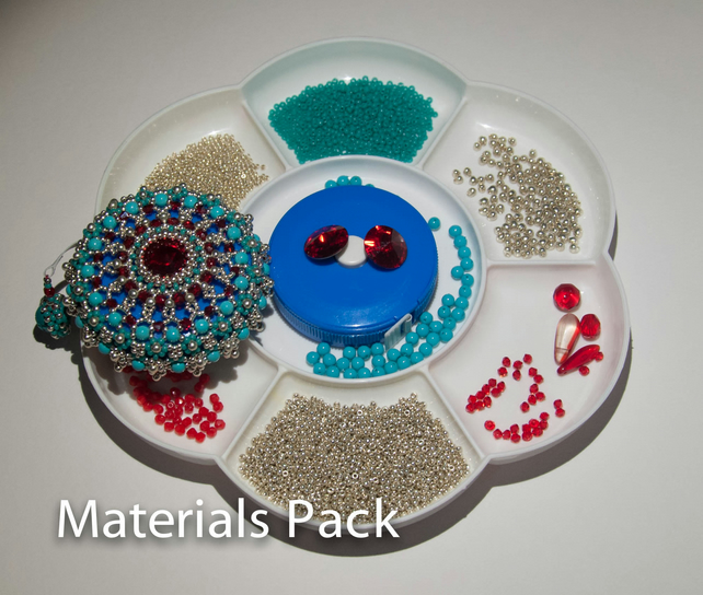 Materials Pack for Baroque Tape Measure Surround - Silver, Scarlet & Turquoise