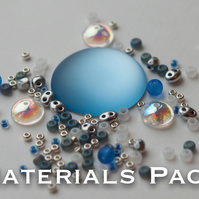 Materials Pack for Kissing Piggies Cabochon Bezel - Blue Skies