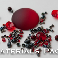 Materials Pack for Kissing Piggies Cabochon Bezel - Ruby & Dark Metals