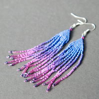 Parrot feather long beadwoven earrings
