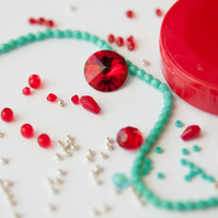 Materials Pack for Baroque Tape Measure Surround - Scarlet & Turquoise