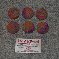 6 x Checked Harris Tweed Wool Fabric Covered Buttons