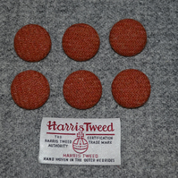 6 x Orange Harris Tweed Wool Fabric Covered Buttons