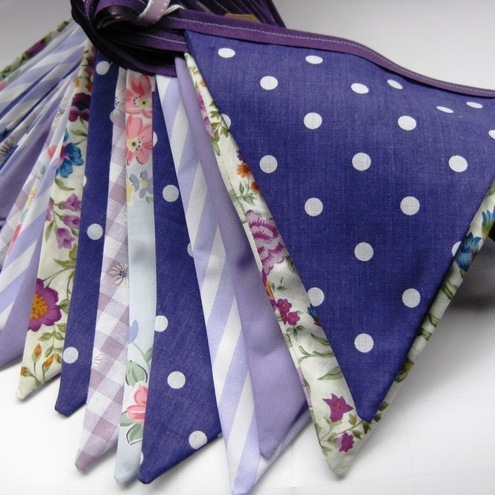 Vintage style Purple Lilac Wedding Party Fabric Bunting 3m