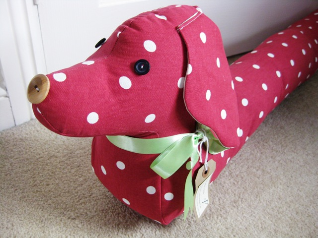 Vintage Style Sausage Dog Draught Draft Excluder - Red Dotty