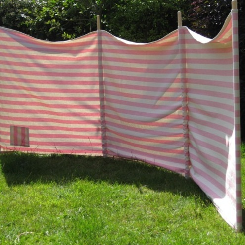 Retro style Beach Windbreak Pink & Oatmeal Stripes