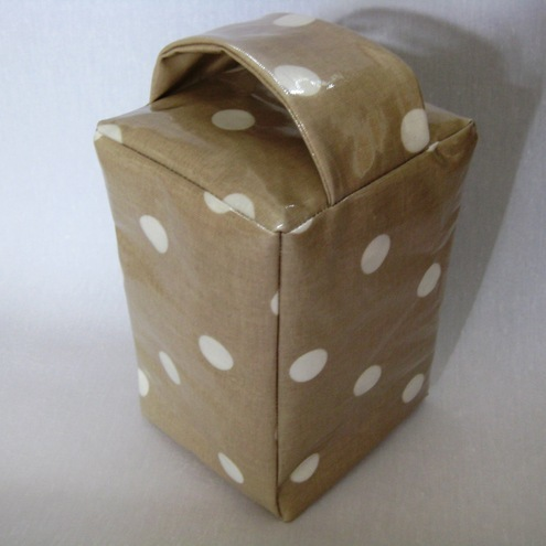 Taupe Neutral Polka Dot Oil Cloth Door Stop