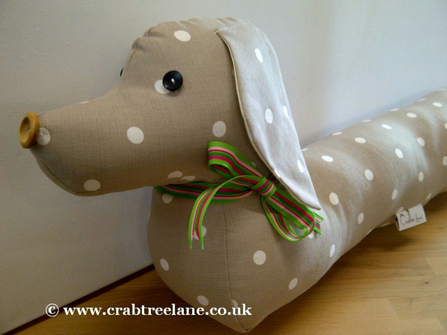Vintage Style Sausage Dog Draught Draft Excluder - Taupe Dotty