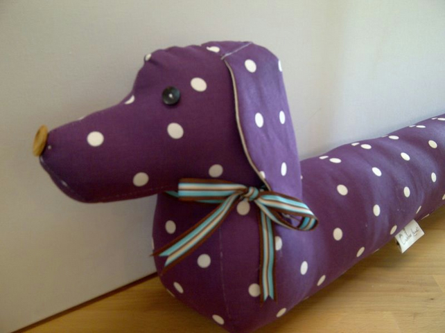 Vintage Style Sausage Dog Draught Draft Excluder Dotty Purple Berry