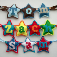 Personalised Name Banner Garland Hearts or Stars 5-10 letters long