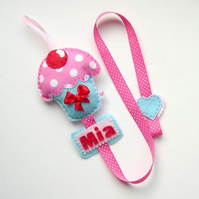 Cupcake Hair Clip Holder Personalised with a name