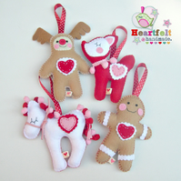 Christmas Felt Decoration - Choose 1 from Gingie, Rudy, Fawn or Pony
