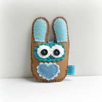 Easter Spring Bunny Decoration - brown and blue - boy - rabbit