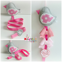 Hair Clip Tidy - Little Bird - pink and grey Hair Bow Holder