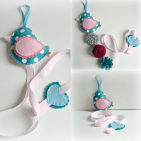 Hair Clip Tidy - Little Bird - teal, turquoise, blue and pink Hair Bow Holder