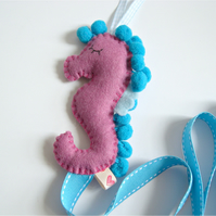Seahorse Hair Bow Clip Slide Tidy Holder Organiser Dusky Pink Turquoise Teal