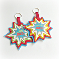 Father's Day - Super Dad - Keyring Comic Style - LIME, RED, BLUE