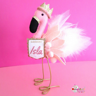 Flamingo Freestanding Cake Topper or Shelfie Shelf Ornament Personalised