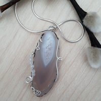 White Agate Slice Pendant Wire Wrapped with Moonstones