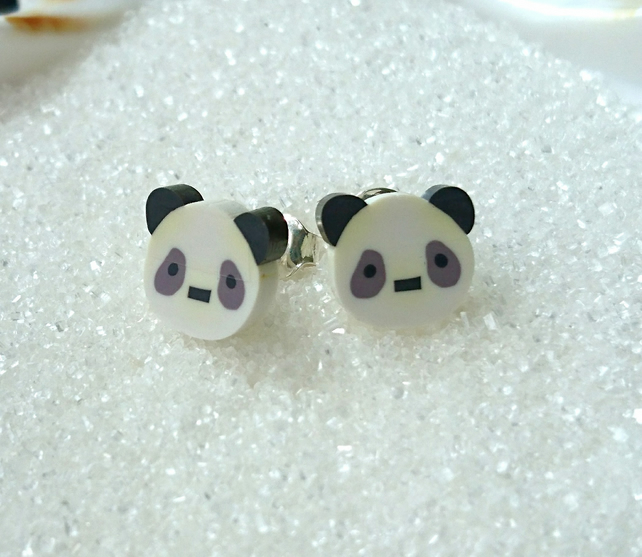 Sterling Silver Panda stud earrings