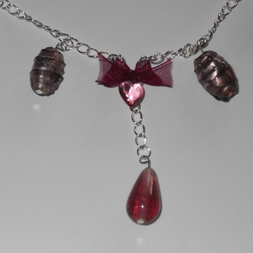(Reduced) Glass bead and ribbon bow necklace