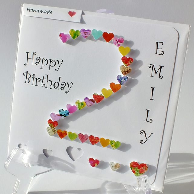 Handmade 3d 2 card 2nd birthday card 2nd ann folksy handmade 3d 2 card 2nd birthday card 2nd anniversary card happy birthday age bookmarktalkfo Choice Image