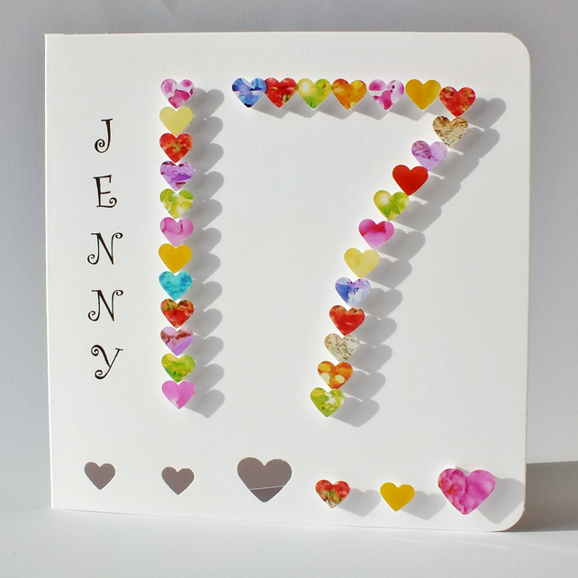 Handmade 3d 17 Card 17th Birthday Card 17th Folksy