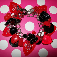 Black & Red Guitar Pick Charm Bracelet