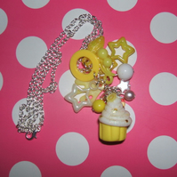 Gorgeous Lemon Cupcake Charm Necklace