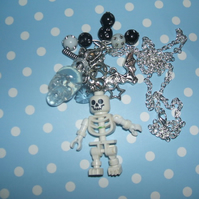 Skeleton Lego Man Charm Junk Necklace